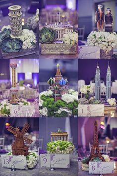 22 Creative Ideas for a Travel-Themed Wedding - Wedding Ideas - . 22 Creative Ideas for a Travel-Themed Wedding - Wedding Ideas - travel wedding motto - reisen. Travel Centerpieces, Wedding Table Centerpieces, Wedding Decorations, Table Wedding, Decor Wedding, Wedding Reception, Around The World Theme, Debut Ideas, Travel Party