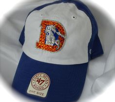 Throwback Denver Broncos Women's Bling Cap. Made by hand with Swarovski Crystals. www.customteambling.com