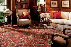 Inspired by the English Manor rug collection, this timeless beauty represents one of our traditional 18th century designs. It brings the virtues of a respite in the country into your home with a rich collection of blooms and interconnected vinery on a red, navy, or ivory ground. One of our finest woven wool wall-to-wall carpets, it is crafted of 100% pure worsted New Zealand wool (one of the only fully worsted wool carpets made). It coordinates with both our English Manor rugs and runners.