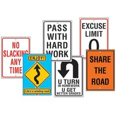 Classroom Road Signs - come up with some art class road signs