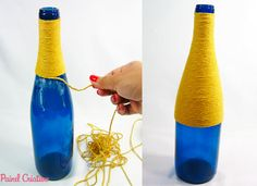 passo a passo centro de mesa festa junina garrafa de vidro decorada  barbante recicalgem (3)