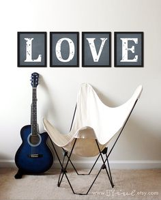 LOVE word, 4 prints, Young Room decor, nursery room print. Kids room decor. Love distressed art decor. Valentines day, Mothers day, Shower gifts, Digital