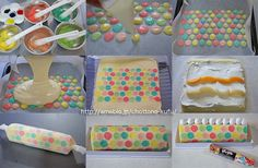 Polka Dot Swiss Roll: Make swiss roll sponge batter, separate batter and distribute equally into 5 bowls, tint each bowl of batter with a diff colour. Grease and line a baking tray, start piping spots of coloured batter as pictured. Pop in the freezer for 10-15 minutes or so, until set. Pour remaining un-coloured sponge batter equally on top of spots and bake for about 10 mins or so.  DO NOT OVER BAKE. You want the sponge roll to stay a pale colour and soft so that it rolls easily...no…
