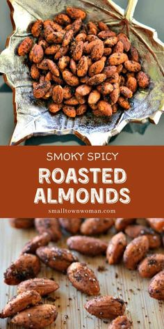 Spicy Nuts, Spicy Almonds, Savory Snacks, Healthy Snacks, Healthy Recipes, Healthy Sweets, Seasoned Almonds Recipe, Savory Roasted Almonds Recipe, Almond Recipes
