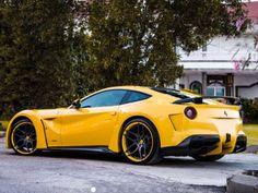 Saudi Novitec N-Largo Ferrari Shines in Yellow and Black Ferrari F12berlinetta, Graffiti Photography, F12 Berlinetta, Ferrari World, Hot Wheels, Super Cars, Classic Cars, Bike, Yellow