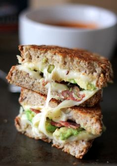 Recipe For Turkey Bacon, Avocado, and Mozzarella Grilled Cheese - What is soup without a sandwich? Without crusty toasted buttered bread and melty cheese in the middle?