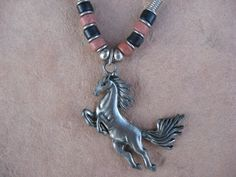 Black Leather Necklace with a Pewter Stallion by buffalorunjewelry, $11.95