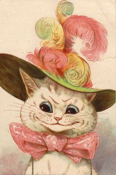 Cat Card - Louis Wain -  Glamour, White Cat with feathered hat.