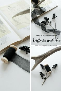Hand dyed silk ribbons in black color for a dark and moody wedding