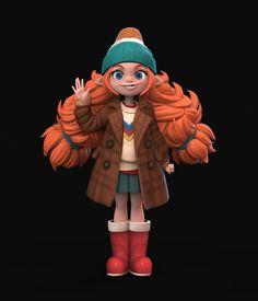 ArtStation - A suspicious transfer student, Carmen Lobo Kid Character, Character Modeling, Fantasy Character Design, 3d Modeling, Zbrush, Girls Characters, Fantasy Characters, Cartoon Characters, Mode 3d