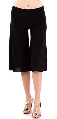Black Ladies Wide Leg Capri Pants Fold-Over Waist Band