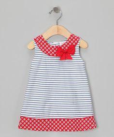 Red & Navy Stripe Yoke Dress