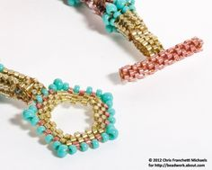 Peyote Toggle Clasp for a Herringbone Stitch Beaded Rope.  #seed #bead #tutorial by Shopway2much