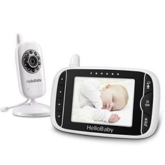 Baby Monitor, LESHP Wireless LCD Video Security Camera for Baby 3.2 inch 2.4GHz 360°Rotation Temperature Monitoring & Alarm Activation with High Capacity Battery, Night Vision: Amazon.co.uk: Baby