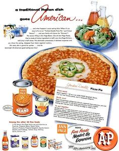 """Yankee Doodle Pizza Pie.  This is a pork 'n beans """"pizza"""" with canned biscuit dough.   (Ann Page, 1954)"""