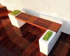 Amazing Sitzbank im Garten M bel eingebaut Stauraum s ulenfu tisch MyGardenPlace Pinterest Aufbewahrung