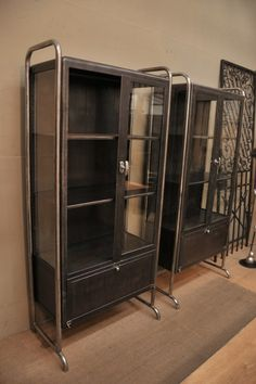 French Metal and chrome Bookcases with shelves c.1930