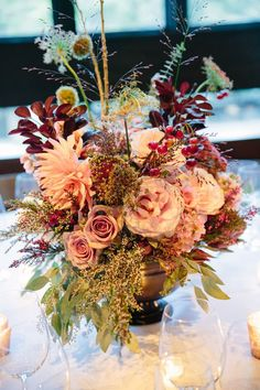 blush floral arrangement for fall