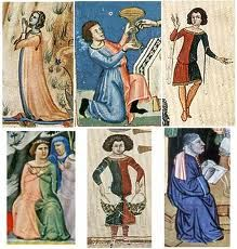Compilation of 14th century parti-coloured clothes
