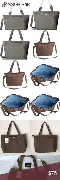 """NWT BAGGALLINI LAPTOP Crossbody Shoulder Strap bag NWT BAGGALLINI Boulevard LAPTOP TOTE mushroom brown Crossbody Shoulder Strap bag.Lightweight, water resistant.Dual handles-10"""" strap Drop Detachable, adjust. up to 26"""" drop17""""w. at top-11.5""""h.-5.5"""" d.Padded laptop sleeve9x13Top zip main sleeve 1 outer front zippocket6x6great for wallet/cell 1 outer full back slip pocket magnetic closure1 outer front slip pocket2 inner slip pockets,pen Keychain TetherSome photos are modeled photos for your…"""