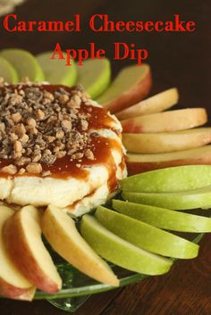 Caramel Cheesecake Apple Dip  (Printable Recipe)    Ingredients:   12 ounces cream cheese, at room temperature  3 Tbs. heavy cream  1/4 cup powdered sugar  1/2 tsp. vanilla    Caramel sauce (recipe below) or store bought  Heath milk chocolate pieces  mini chocolate chips  2-4 Granny Smith or other crisp tart apples, sliced and soaking in lemon juice/water until ready to serve