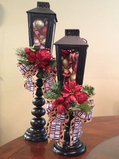 Christmas lanterns. Old candlesticks, lanterns from Lowes.