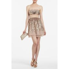 BCBG Max Azria Sequined Strapless Cocktail Dress