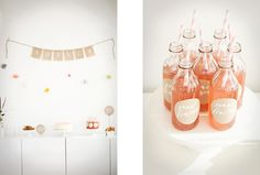 Gorgeous first party by Karen at Sunday Suppers; bottles, treat bags, and paper tableware from Shop Sweet Lulu
