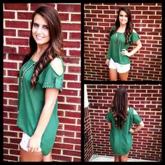 Check out this hunter green top with the open shoulders! This color is going to beach a big hit again this fall! The style of this top can be worn with shorts, pants, or even a skirt! Add a simple necklace and you will be good to go! #shop #elliecrimson #fashions