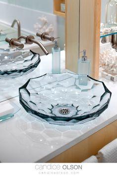 Blue Glass Vessel Bathroom Sink • Faceted Vessel Sink • Quartz Countertop • Kohler Vessel Sink • #candiceolson #candiceolsondesign Tropical Bedrooms, Tropical Bathroom, Tropical Decor, Coastal Decor, Glass Bathroom Sink, Glass Vessel Sinks, Bathroom Vanities, White Vessel Sink, Candice Olson