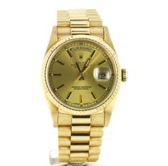 Second Hand Rolex Day Date 18238 Champagne. Preowned watches from the UK's premier outlet for luxury watches. Watch Blog, Rolex Day Date, Pre Owned Watches, Vintage Watches, Gold Watch, Champagne, Modern, Stuff To Buy, Accessories