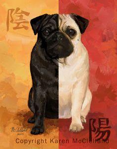 "Pug art... ""Yin Yang"" by Karen McClelland"