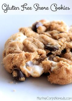 Gluten Free, flourless smore cookies with a nut-free option. Gluten Free, flourless smore cookies with a nut-free option. Gluten Free Deserts, Gluten Free Sweets, Foods With Gluten, Gluten Free Baking, Dairy Free Recipes, Vegan Gluten Free, Easy Gluten Free Cookies, Crockpot Recipes Gluten Free, Healthy Recipes