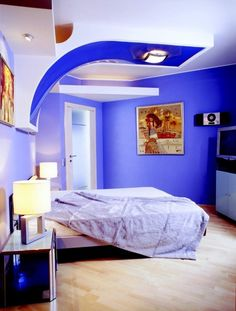 Electric BLue:  Paint & Colors, Delight Paint Colors For Small Bedrooms Cool Blue Colors Luxurious Teen Modern Contemporary Bedroom With Unique Decorative Ceiling Design Ideas ~ Rich and Perfect Paint Colors for Small Rooms