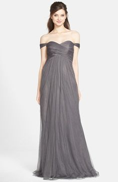 In lilac but love this style of sleeves Jenny Yoo 'Willow' Convertible Tulle Gown available at #Nordstrom