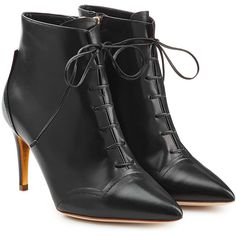 Rupert Sanderson Henty Leather Ankle Boots ($510) ❤ liked on Polyvore featuring shoes, boots, ankle booties, black, black stilettos, black ankle booties, black booties, short black boots and lace up booties