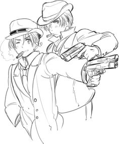 I don't think Italy would ever be able to pull of the gangster look, but I Romano nailed it. xD