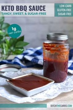 This easy tangy keto BBQ sauce is so delicious it will become your go-to for all your grilling and barbecue needs. Keto Barbecue Sauce Recipe, Sugar Free Barbecue Sauce, Homemade Bbq Sauce Recipe, Low Carb Bbq Sauce, No Sugar Bbq Sauce Recipe, Gluten Free Bbq Sauce, Keto Sauces, Low Carb Sauces, Bbq Sauces