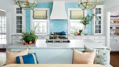 Lindsey Cheek Wilmington, NC Home White Kitchen with Teal Tile and Banquet Seating Decor, Home, Kitchen Remodel, Home Decor Kitchen, House, Popular Kitchens, Teal Kitchen, Remodeling Plans, Colonial House