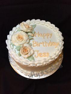 Gum paste roses birthday cake