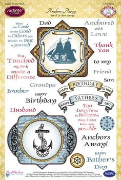 "JustRite Papercraft Anchors Away 6"" x 8 "" Clear stamp set"