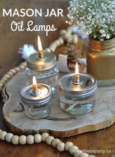 Gorgeous DIY Mason Jar Oil Lamps via LIfe is a Party