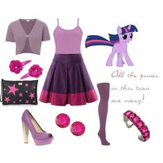 My Little Pony - Twilight Sparkle, created by gingergeezer on Polyvore. I would wear it for her birthday.