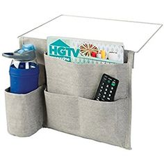 mDesign Bedside Cadd Storage Organizer for Phone, Tablet, Magazines, Water Bottle, Remote Control - 4 Pockets, Light Gray