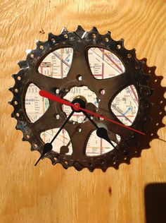 Recycled Bicycle Cog Wall Clock - Wicker Park Chicago. $25.00, via Etsy.
