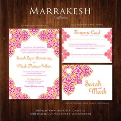 Printable Wedding Invitation and RSVP - Marrakesh Collection - Moroccan, Arabesque