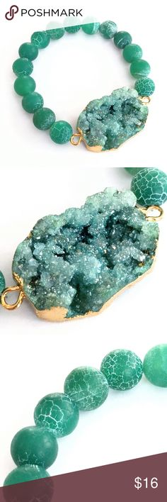 """Genuine agate druzy beaded stretch bracelet Wow!  This piece shimmers and sparkles in almost otherworldly shades of blue-green!  Sheer magic!  (I nearly kept this piece... It's amazing!)  A gold-plated genuine agate druzy stone takes center stage among frosted agate striated beads.  All nickel and lead free.  Stretch bracelet fits most wrists.  PRICE IS FIRM and extremely reasonable, but click """"add to bundle"""" to save 10% on your purchase of 2+ items today! Jewelry Bracelets"""