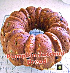 Pumpkin Zucchini Bread, An easy recipe with fabulous aromas and great tasting. Freezer friendly and a perfect way to enjoy zucchini! Pumpkin Zucchini Bread, Zucchini Bread Recipes, Zucchini Cake, Bread Cake, Dessert Bread, Loaf Cake, Bundt Cakes, Pumpkin Recipes, Fall Recipes