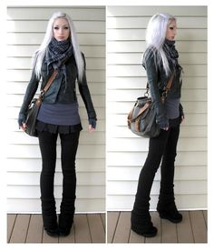 Love this whole outfit, but especially the legwarmer/boot/skinny jean/skirt combo.  #Kato