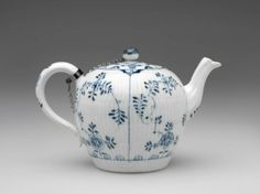 RISD Museum: Meissen Porcelain Manufactory. German, 1710-present. Teapot, 1774-1814. Porcelain with underglaze blue, glaze and silver. Height: 11.4 cm (4 1/2 inches) Gift of Mrs. Arnold B. Chace, Jr. 44.750